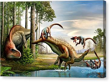 An Acrocanthosaurus Observes Canvas Print by Mohamad Haghani