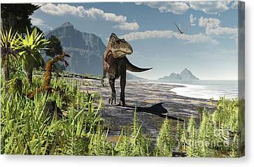 An Acrocanthosaurus Roams An Early Canvas Print by Arthur Dorety