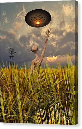 An Alien Being Directing A Ufo Canvas Print