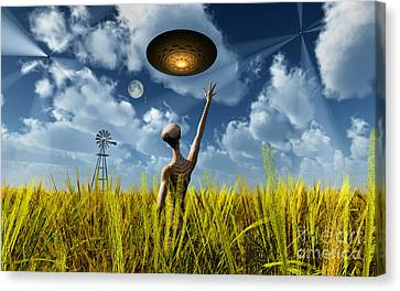 An Alien Being Directing Its Spacecraft Canvas Print