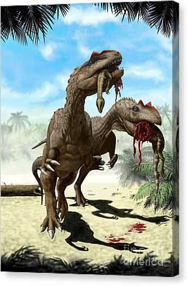 An Allosaurus And A Hypsilophodon Find Canvas Print by Yuriy Priymak