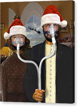 An American Gothic Sleep Apnea Merry Christmas Canvas Print by Mike McGlothlen