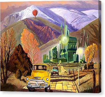 Canvas Print featuring the painting Trucks In Oz by Art James West