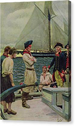 An American Privateer Taking A British Prize, Illustration From Pennsylvanias Defiance Canvas Print by Howard Pyle