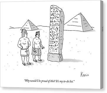 An Ancient Egyptian Mason Describes An Obelisk Canvas Print by Zachary Kanin