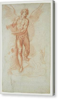 An Angel Holding A Book Recto,  Three Studies Of A Falling Canvas Print by Litz Collection