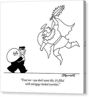 Bank Robber Canvas Print - An Angel Holding A Flaming Sword Approaches by Charles Barsotti
