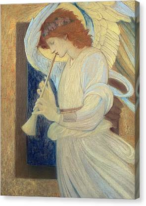 An Angel Playing A Flageolet Canvas Print by Sir Edward Coley Burne-Jones