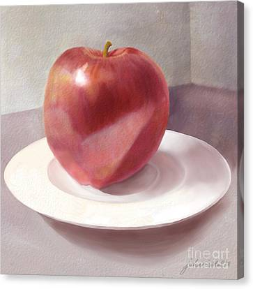 An Apple For Sue Canvas Print by Joan A Hamilton