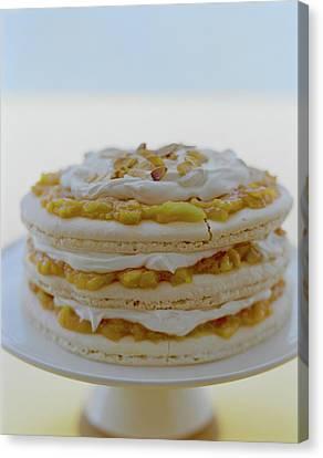 An Apricot Almond Layer Cake Canvas Print