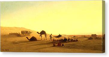 Traveller Canvas Print - An Arab Encampment  by Charles Theodore Frere