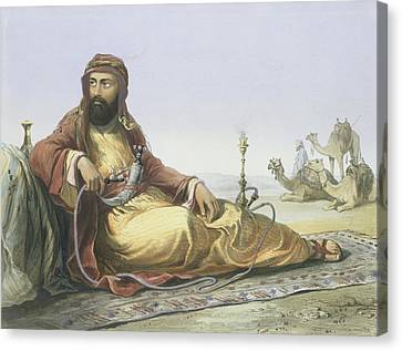 An Arab Resting In The Desert, Title Canvas Print by Emile Prisse d'Avennes