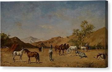 An Arabian Camp Canvas Print by Eugene Fromentin