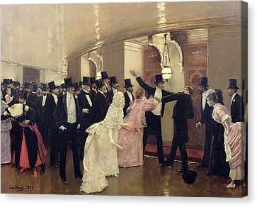 An Argument In The Corridors Of The Opera Canvas Print by Jean Beraud