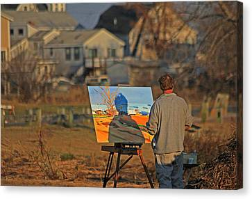 Artist At Easel Canvas Print - An Artist At Work by Karol Livote