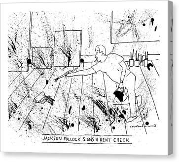 An Artist, Presumable Jackson Pollock, Reaches Canvas Print