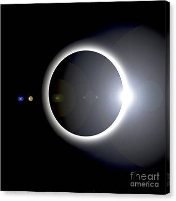 An Artists Depiction Of A Solar Eclipse Canvas Print by Marc Ward