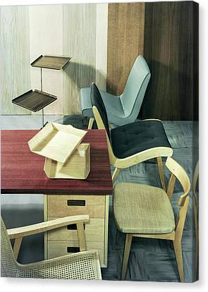 Linoleum Canvas Print - An Assortment Of Office Furniture by Wiliam Grigsby