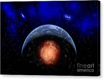 An Asteroid Impacting The Earth Canvas Print