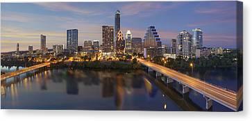 Austin Skyline Canvas Print - A Panorama Of The Austin Skyline Over Lady Bird Lake by Rob Greebon