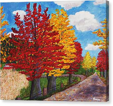 An Autumn Drive Canvas Print by Cynthia Morgan
