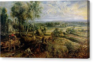 An Autumn Landscape With A View Of Het Steen In The Early Morning, C.1636 Oil On Panel Canvas Print by Peter Paul Rubens