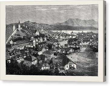 Lucerne Canvas Print - An Autumn Tour In Switzerland General View Of Lucerne by Swiss School