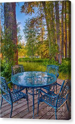 An Early Morning On The Deck At Cottonwood Cottage Canvas Print