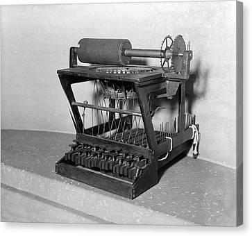 An Early Typewriter Canvas Print by Underwood Archives