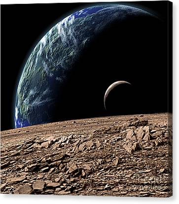 An Earth-like Planet In Deep Space Canvas Print by Marc Ward