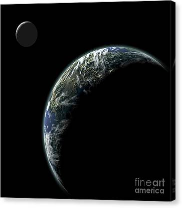 An Earth-like Planet With An Orbiting Canvas Print by Marc Ward