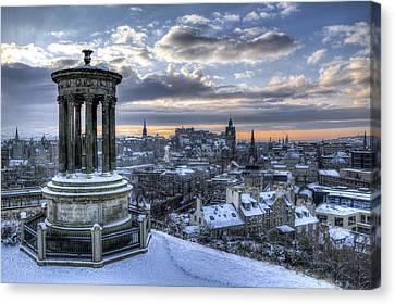 An Edinburgh Winter Canvas Print by Ross G Strachan