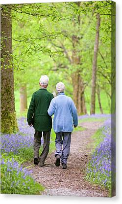 An Elderly Couple Walking Canvas Print by Ashley Cooper