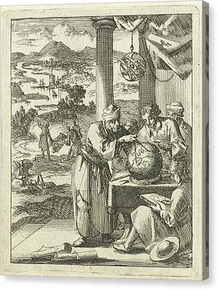 An Elderly Man Makes For Four Young Figures Dimensions Canvas Print by Jan Luyken And Wed. Pieter Arentsz (ii)