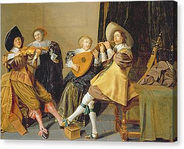 Lute Canvas Print - An Elegant Company Playing Music In An by Dirck Hals