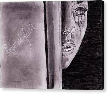 An Emotional Girl Canvas Print by Priyanka Patil