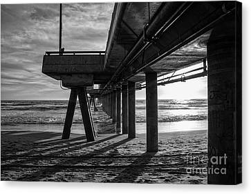 An Evening At Venice Beach Pier Canvas Print by Ana V Ramirez