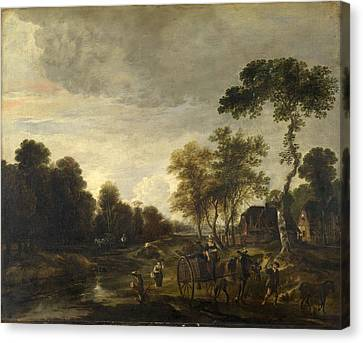 Horse And Cart Canvas Print - An Evening Landscape With A Horse And Cart By A Stream by Aert van der Neer