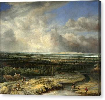 An Extensive Landscape With A Hawking Party Canvas Print by Philips Koninck