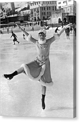 An Ice Dancer Shows Her Moves Canvas Print by Underwood Archives