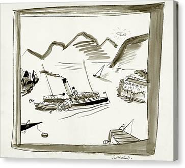 An Illustrated Depiction Of Switzerland Canvas Print by Ludwig Bemelmans