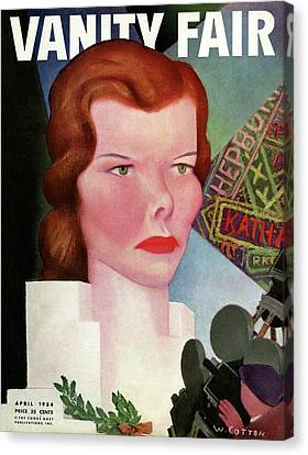 An Illustration Of Katherine Hepburn On The Cover Canvas Print by Will Cotton