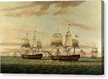 An Indiaman And A Two Decker Hove To, Said To Be Thomas Canvas Print by Litz Collection