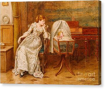 An Interior With A Mother And Child Canvas Print by George Goodwin Kilburne
