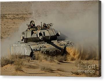 An Israel Defense Force Magach 7 Main Canvas Print by Ofer Zidon