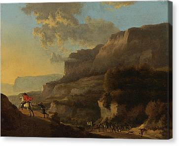 An Italianate Landscape With Travellers Ambushed By Bandits Canvas Print by Jan Hackaert
