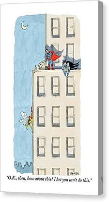 Buildings Canvas Print - An Obscure Superhero Tries To Challenge Superman by Jack Ziegler