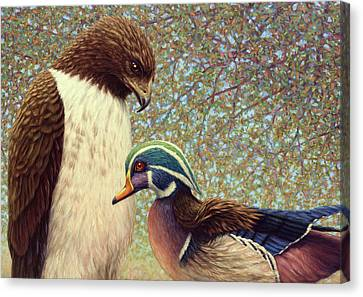 Red Eye Canvas Print - An Odd Couple by James W Johnson