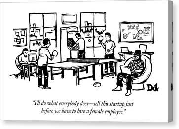 An Office Of Male Tech Entrepreneurs Canvas Print by Drew Dernavich