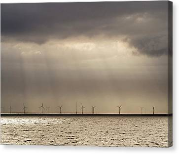 An Offshore Wind Farm In Dutch Waters Canvas Print by Ashley Cooper